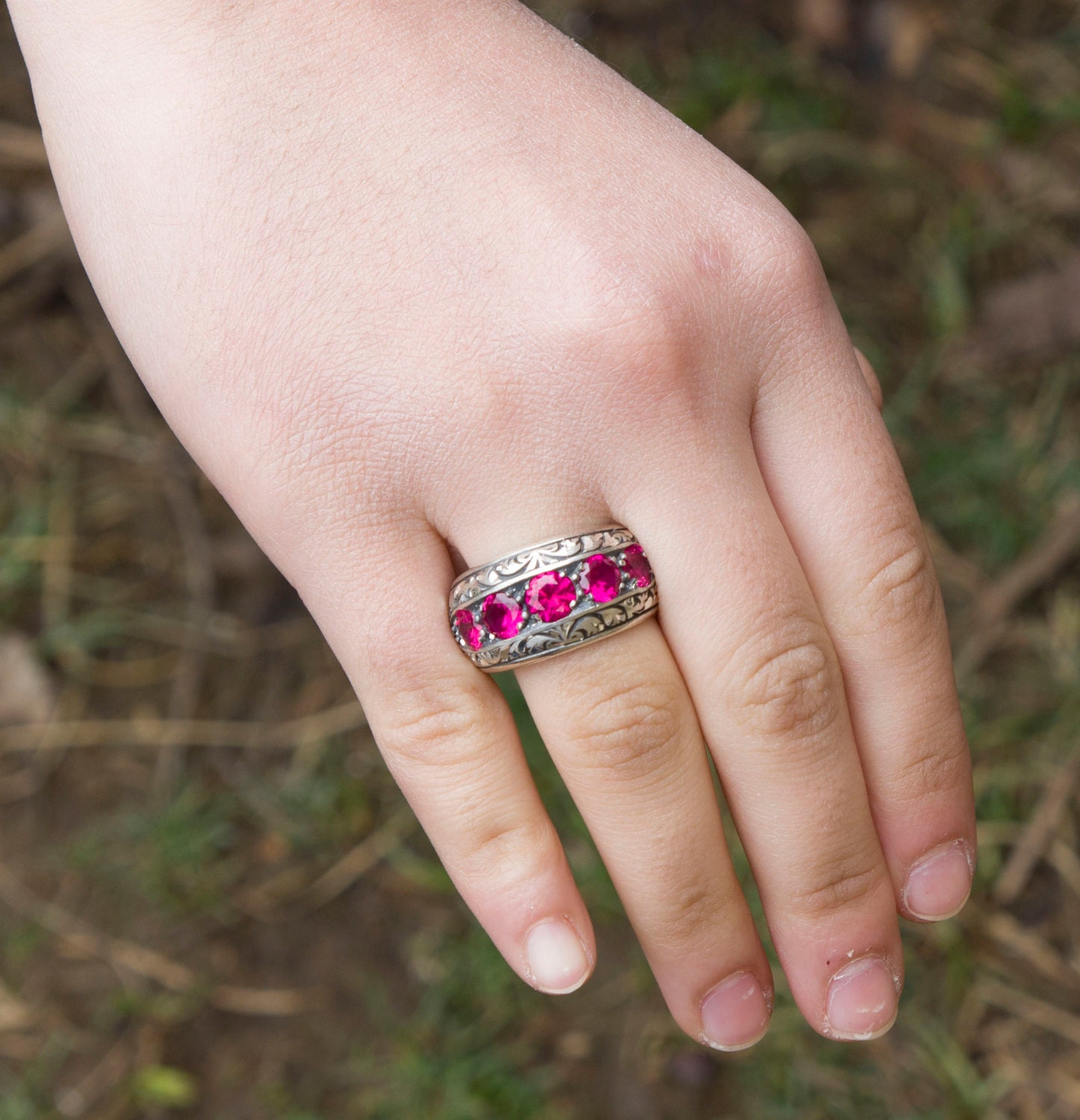 Sterling Silver Men Ring Handmade, With Ruby Stone,Steel Pen Crafts ...