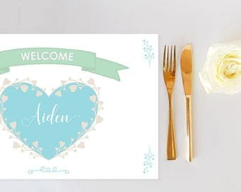 Customized Baby Shower Paper Placemats - Printable Placemat - Name Cards - Table Setting - Download
