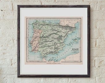 Map Of Spain and Portugal  Digital Online Maps Instant Download Printable