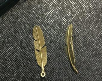 20pcs leaf pendant , leaf charm, antique bronze tone