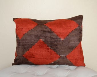 Red and Charcoal Velvet and Silk 21 x 16 inch Ikat Designer Turkish Pillow Cover with Cotton Back