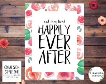 Printable Wedding Sign | Printable Sign | Wedding Poster | Wedding Decoration | Floral Sign | Watercolor Sign | Rustic Wedding | Coral Suite