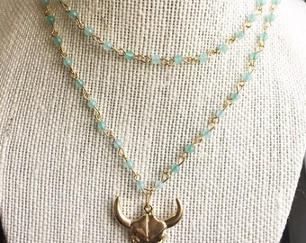 gold bull steer necklace