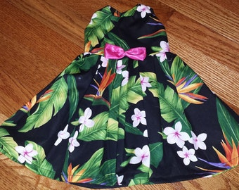 """Tropical bird of paradise dress for 18"""" American Girl doll."""