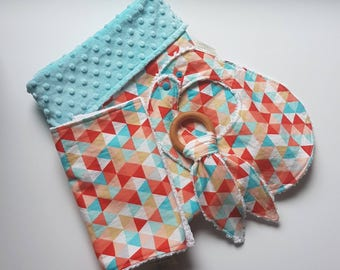 Colorful Geometric Gift Set-blanket - Bib and Burp cloth- Bunny Teether- baby shower gift- gender neutral