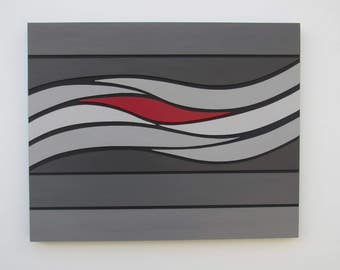 Waves of Grey - original contemporary mixed media painting of wood on wood with acrylic