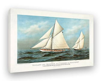 Old Ship, Boat Race, Framed Canvas Print, Vintage Style Art Print, Sailboat, Ships At Sea, America's Cup, Sport Boating, Ocean Race