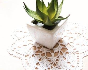 "white crochet cotton doily, handmade crochet, home decor, white  doilies, table decor, 24 cm 9.5"" doily, table decoration, gift idea"