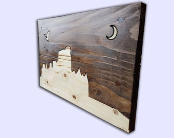 Slains Castle Skyline wooden personalised personalized gift home decor wall art