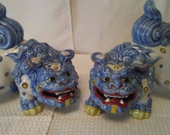 Pair of Vintage Porcelain Foo Dog Statues