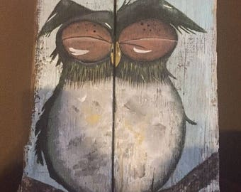 Acrylic owl painting on barn wood
