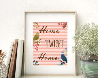 Bird Printable Wall Art - Home Tweet Home - Printable Wall Art - Pink Stripe Instant Download 8 X 10 High Resolution Digital Artwork