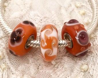 Glass Beads Set, Murano Style Glass Beads, Sterling Silver Core, Pandora Style, Lampwork Glass, Orange Glass Beads