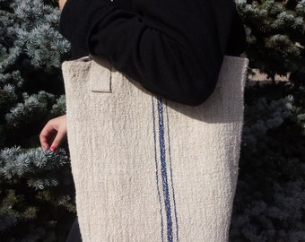 Large handbag made with antique linen