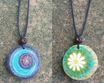Moon and flower reversible wood pendant, hand painted, hippy, boho, wearable art, hand painted.