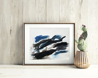 Original Abstract Painting on Paper 11x15 with blue black and white UNFRAMED  artwork