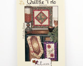 Quilting Pattern Trio, Mini Braid Table Runner, Mini Blooms Table Runner, Mini Medallion, Home Decor Patterns GE-202