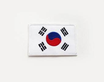 1x South Korean flag patch - Republic of Korea - Asia Asian roadtrip World Iron On Embroidered Applique logo blue white red
