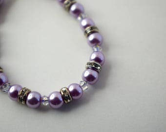 Light Purple Pearl, Rhinestone, and Swarovski Crystal Baby Bracelet