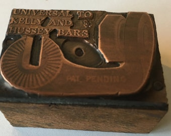 """Vintage Bicycle Part Print Block. It Reads. """"Universal To Kelly And Hussey."""""""