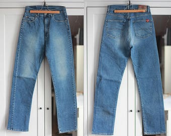 Big Star Vintage Jeans High Waisted Classic Fit Medium Blue Color Denim Casual 1980s Oldschool Retro Unisex Women Girl Men / W28 / MEDIUM
