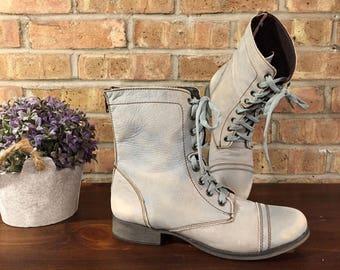 Troopa Combat Lace Up Distressed Vintage Rare Color Unique Boots