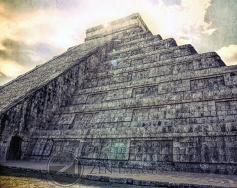Mexico photography, Chichen Itza, pyramid, ruin, wonder of the world, wall art, wall decor, Digital Download, up to 16x24