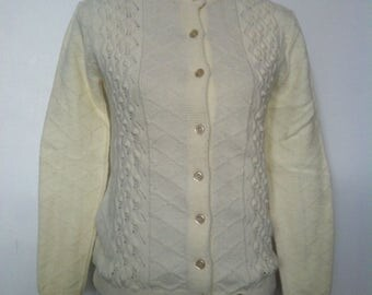 Vintage Womens Aran Cable Knit Alpaca Buttoned Sweater Cardigan / Cream / Size S