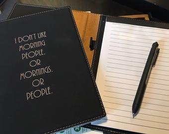 "Engraved 7"" x 9"" Black Leatherette Mini Portfolio with Notepad - MORNING PEOPLE"