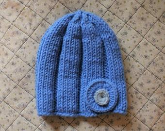 Blue Women's Hat - Knitted Wool Beanie - Handmade Gift