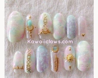 Pastel Tribal Native Marble Gel Nail Art