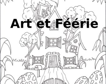"""Coloring page """"Mystery house"""""""