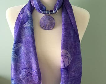 Genuine sand dollar scarf ring in purple