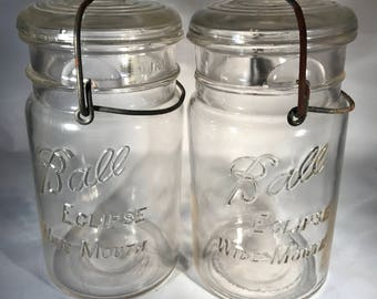 Two Ball Eclipse Wide Mouth Quart Jars with Original Bail and Glass Top