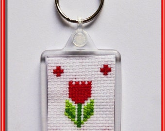 Red Tulip Keyring: Handmade Cross-stitch Design