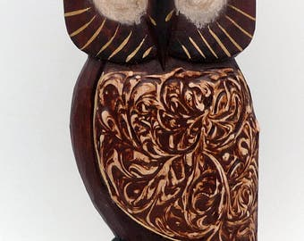 OWL OWL vintage wooden carved and painted wooden
