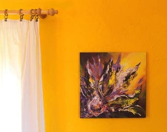 An original acrylic abstract painting on canvas A Burning Lotus