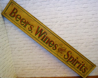 Beers Wines and Spirits wooden double sided sign vintage industrial mancave retro display decor cafe restaurant pub