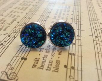 faux druzy sapphire blue earring stud