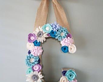 Felt flower initial, nursery decor, Mother's Day, wedding decor, baby shower