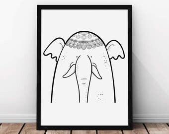 Elephant - Safari Animals - Kids Art Print - Nursery Wall Art - Nursery Prints - Kids Wall Art - Kids Decor - Chico & Chica