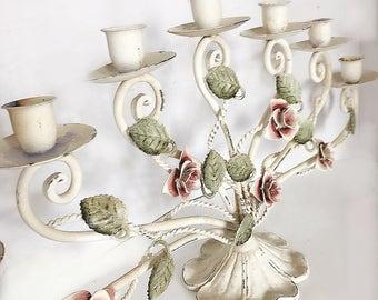 Beautiful Unique Rare Heavy MetalVintage Creamy White Rose Candlebrela , Vintage Tole Rose Candle, Shabby cAndle, Rose Centerpiece , Vintage