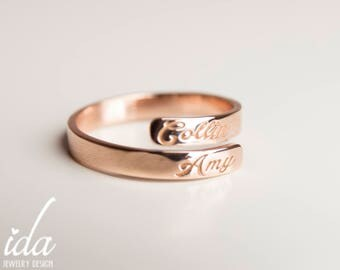 Custom Name Ring - Rose Gold Ring - Stacking Rings - Dainty Ring - Custom Hand Stamped - Personalized Ring - Personalized Gift For Her