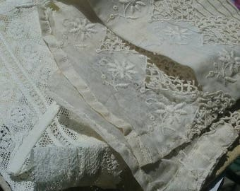 Pair of Vintage Victorian lace collars.ivory