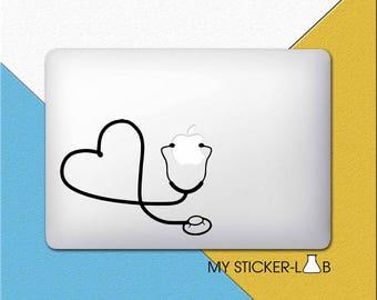 Stethoscope MacBook Decal Stethoscope MacBook Sticker Doctor Decal Apple Stethoscope Apple Logo Decal Doctors Instrument Tool Medicine m227