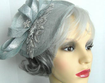 Dorothy fascinator in duck egg blue with plenty of sparkle