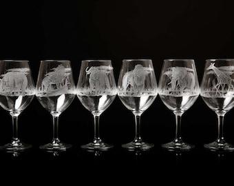 Glass hand etched african themed safari wine glasses animal & safari tree