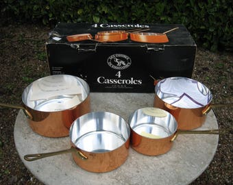 An Unused  Boxed Set Of Four French Copper Saucepans Made By Les Cuivres De Faucogney A Nice Set For A Country Kitchen / Farmhouse Kitchen
