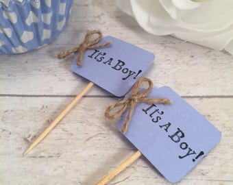 Handmade 'Its a boy' Cupcake Flags