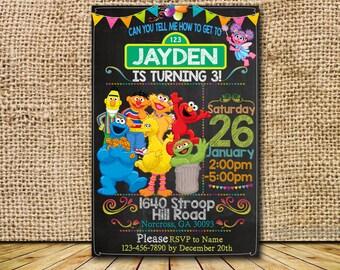 Sesame Street Invitation / Sesame Street Birthday / Sesame Street Party / Sesame Street Card / Sesame Street Printable / Sesame Street_BS014